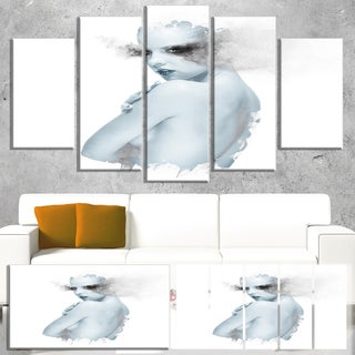 Designart 'Beautiful Young Woman Double Exposure' Portrait Canvas Wall Art Print