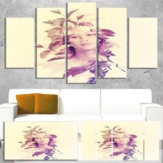 Designart 'Woman Portrait with Leaves' Modern Portrait Canvas Wall Art