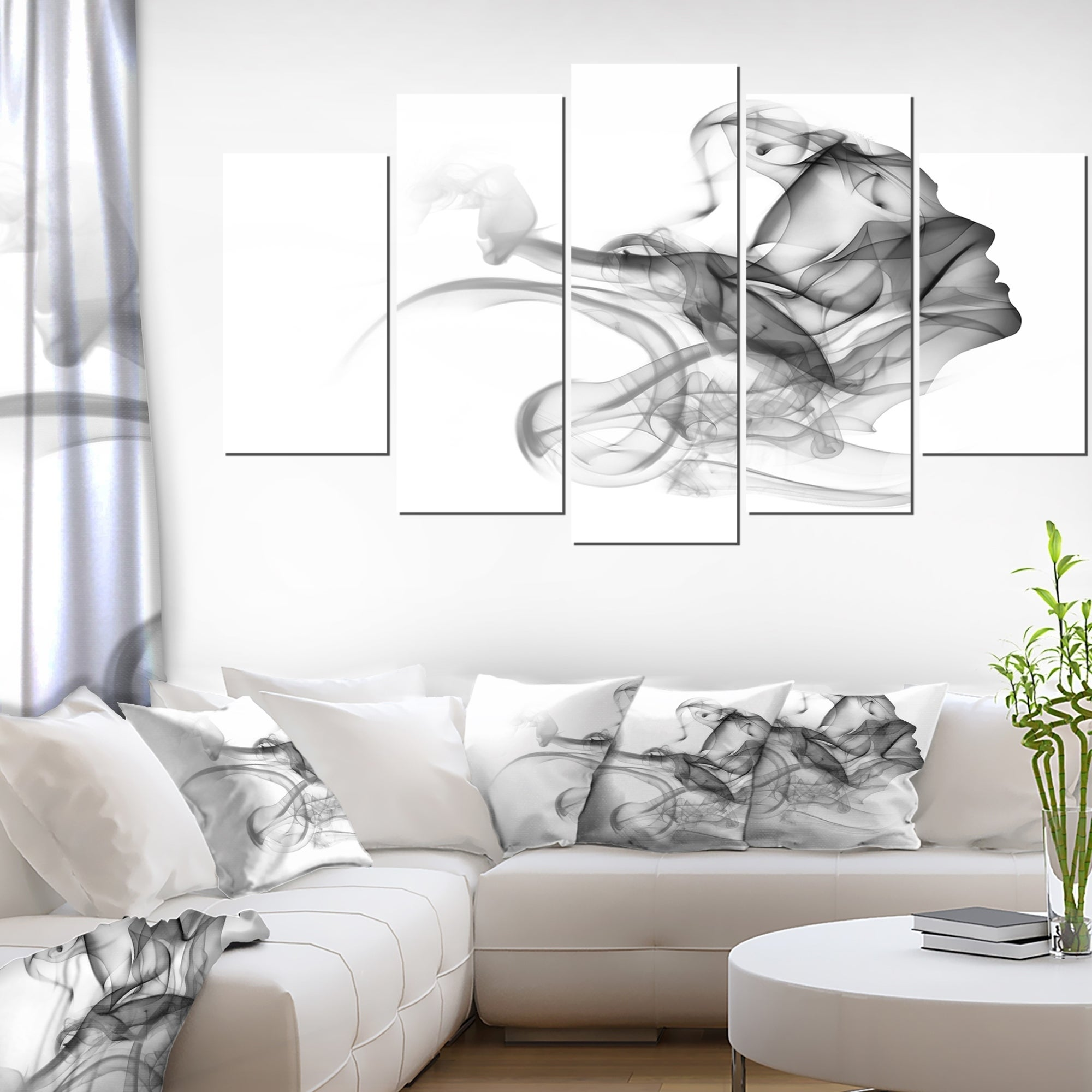 Woman And Smoke Double Exposure Modern Portrait Canvas Wall Art