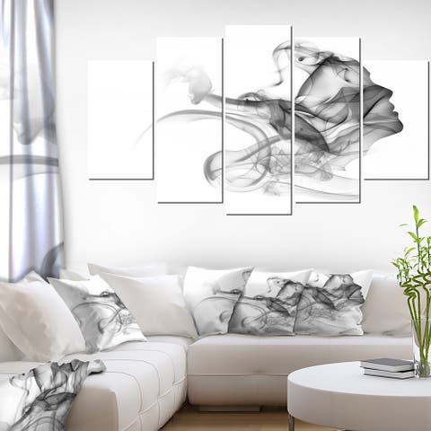 Woman and Smoke Double Exposure' Modern Portrait Canvas Wall Art