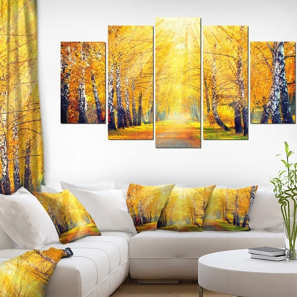 yellow autumn trees in sunray large landscape art canvas print