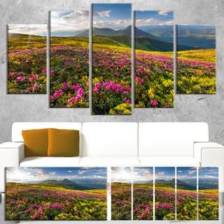 Designart 'Summer Day Rhododendron Flowers' Landscape Artwork Canvas Print
