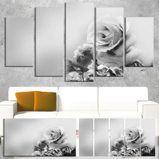 Designart 'Black and White Rose in Spring.' Modern Floral Wall Artwork