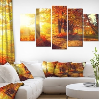 Designart 'Autumnal Trees in Sunrays' Large Landscape Art Canvas Print