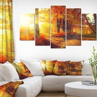 Autumnal Trees in Sunrays' Large Landscape Art Canvas Print - Red
