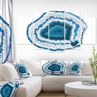 Designart 'Blue Agate Crystal' Abstract Canvas Wall Art Print