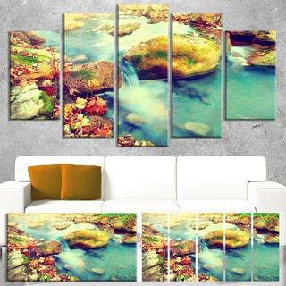 Designart 'Mountain River with Stones' Large Seashore Canvas Wall Art
