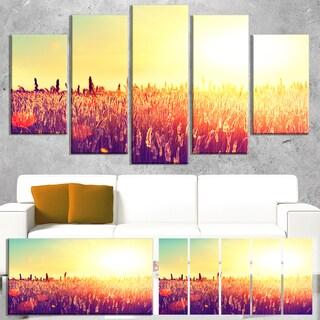 Designart 'Rural Fields under Shining Sun' Landscape Wall Art Print Canvas