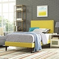 Phoebe Fabric Platform Bed with Squared Tapered Legs in Sunny