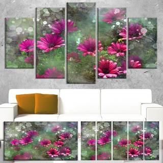 Designart 'Red and Pink Flowers on Green' Large Floral Canvas Artwork