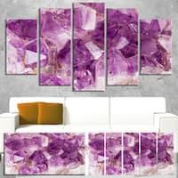 Designart 'Purple Amethyst Macro' Abstract Canvas Wall Art Print