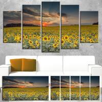Designart 'Sunflower Sunset with Cloudy Sky' Landscape Wall Art Print Canvas - YELLOW