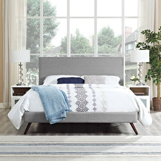 Phoebe Fabric Platform Bed with Round Splayed Legs in Light Grey