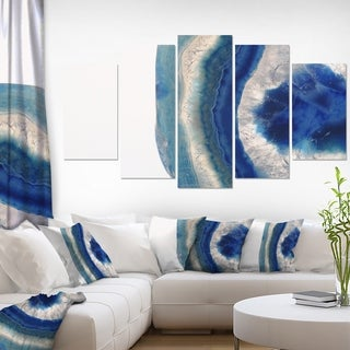 Designart 'Macro of Blue Agate Stone' Abstract Canvas Wall Art Print
