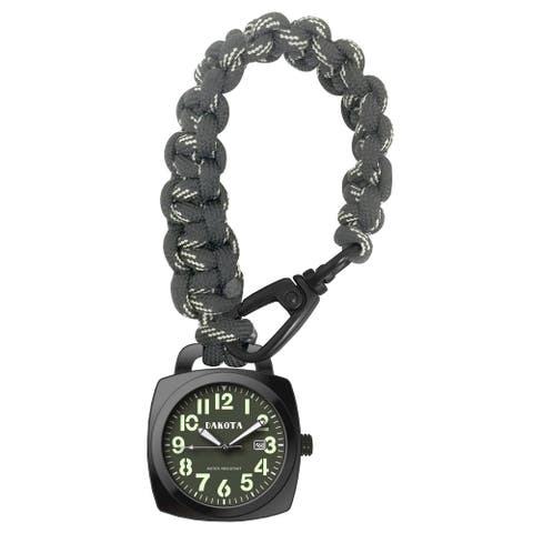 Dakota Black Nylon and Stainless Steel Green Dial Paracord Clip Watch