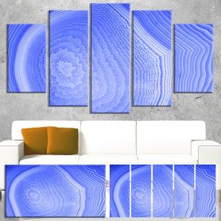 Designart 'Dark Blue Agate Structure' Modern Abstract Canvas Print