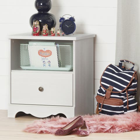 South Shore Caravell White Washed Laminate 1-Drawer Nightstand