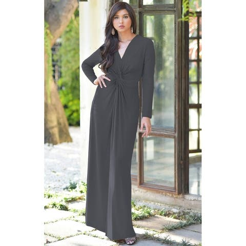 f8901f2a9fa2 KOH KOH Womens Semi Formal Flowy Fall Long Sleeve Gowns Maxi Dresses