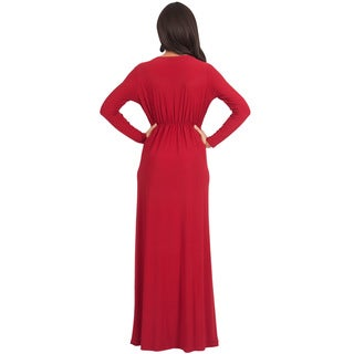 KOH KOH Womens Semi Formal Flowy Fall Long Sleeve Gowns Maxi Dresses + FREE GIFT