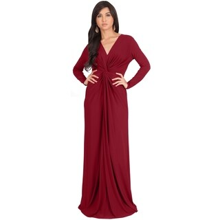 KOH KOH Womens Semi Formal Flowy Fall Long Sleeve Gowns Maxi Dresses + FREE GIFT
