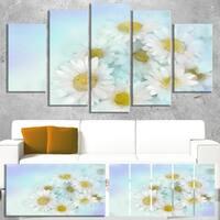 Designart 'White Gerbera Flowers on Light Blue' Large Floral Canvas Artwork - Blue