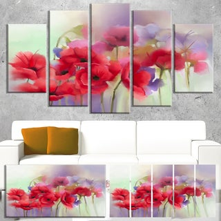 Designart 'Watercolor Red Poppy Flowers Painting' Large Floral Canvas Artwork