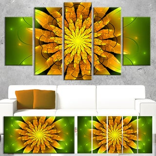 Designart 'Bright Yellow Fractal Flower on Green' Flower Canvas Print Artwork