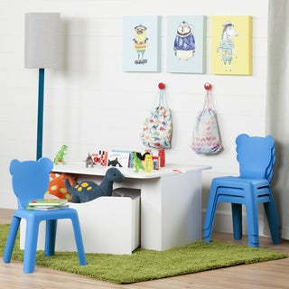 South Shore White Laminate Kid's Activity Table with 4 Plastic Chairs (Set)