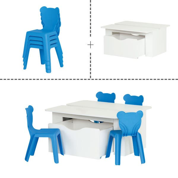 Astounding Shop South Shore White Laminate Kids Activity Table With 4 Machost Co Dining Chair Design Ideas Machostcouk