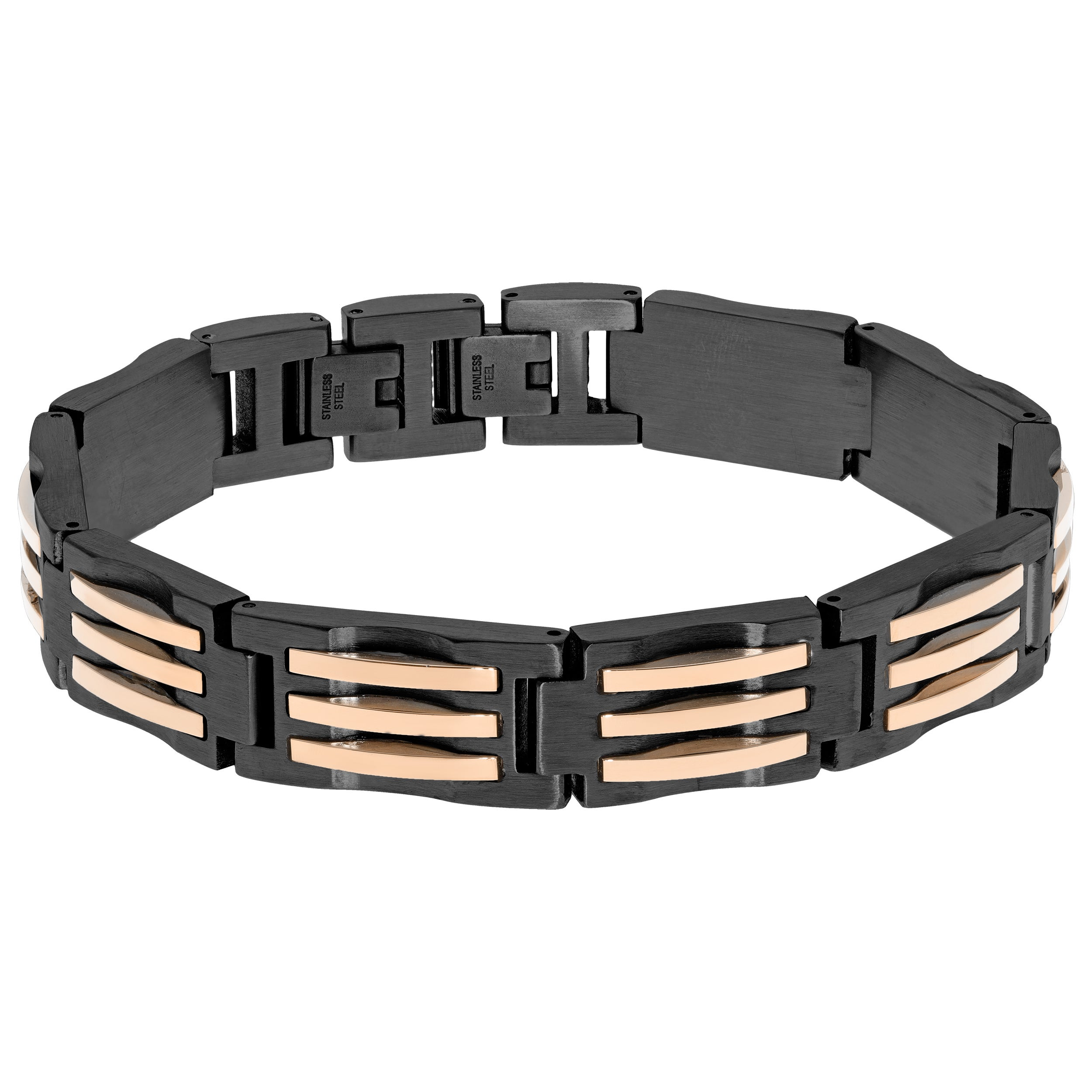 Multi IP Stainless Steel Men's Two-tone Link Bracelet (Wh...