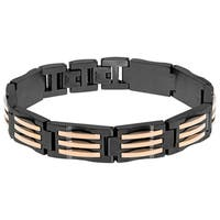 Multi IP Stainless Steel Men's Two-tone Link Bracelet