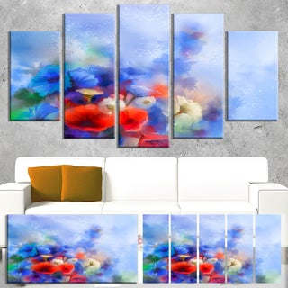 Designart 'Blue Corn Flowers and Red Poppies' Flower Canvas Print Artwork