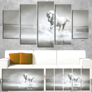 Designart 'White Horse Running in Water' Extra Large Animal Artwork