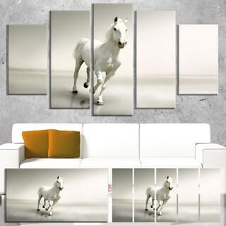 Designart 'Beautiful White Horse Running' Extra Large Animal Artwork