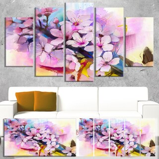 Designart 'Japanese Cherry Blossoms Watercolor' Flower Canvas Print Artwork
