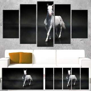 Designart 'Isolated Black Horse on Black' Extra Large Animal Artwork