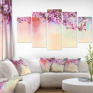 Designart 'Watercolor Painting Cherry Blossoms' Flower Canvas Print Artwork