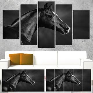 Designart 'Black Arabian Horse Portrait' Extra Large Animal Artwork