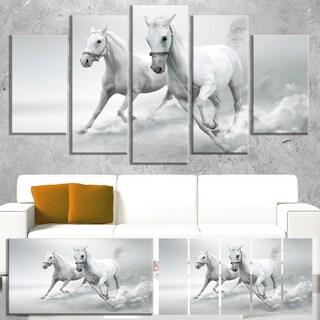 Designart 'Running White Horses' Extra Large Animal Artwork