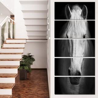 Designart 'White Horse Black and White' Extra Large Animal Artwork