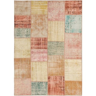 ecarpetgallery Color Transition Patch Beige Grey  Wool Rug (5'7 x 7'9)