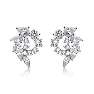 Collette Z Sterling Silver Cubic Zirconia Whirlwind Earrings