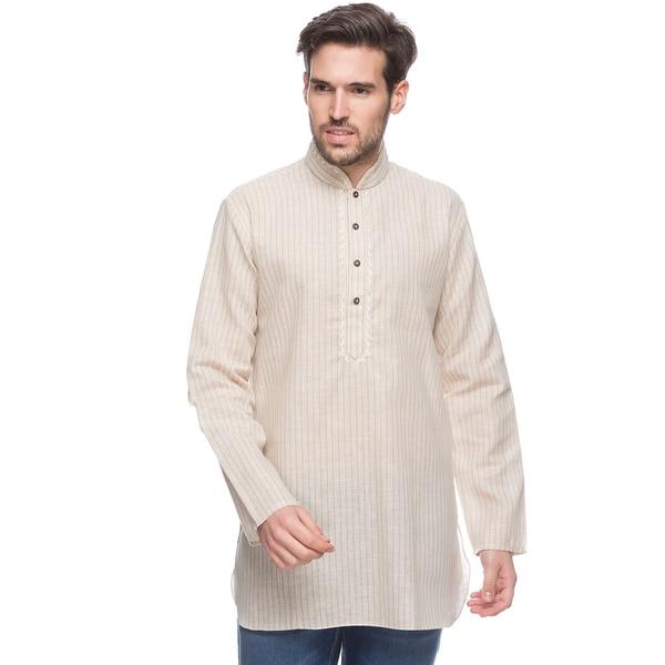 In-Sattva Shatranj Men's Indian Mid-length Kurta Tunic Fine Embroidered Placket Pin Stripe Shirt