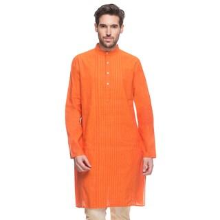 Handmade In-Sattva Shatranj Men's Long-Sleeved Orange Kurta Tunic (India)