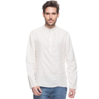 In-Sattva Shatranj Men's Indian Eggshell Short Tunic with Banded Collar (India)