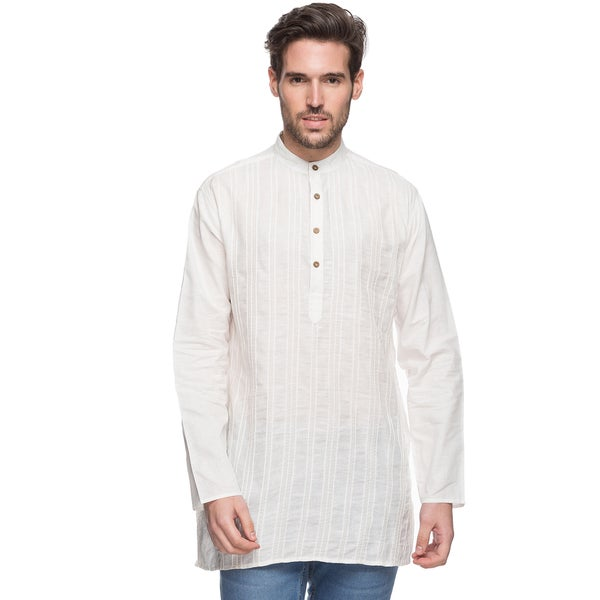 Handmade In-Sattva Shatranj Men's Indian Mid-length Kurta Tunic (India)