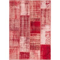 eCarpetGallery Color Transition Patchwork Red Wool Rug