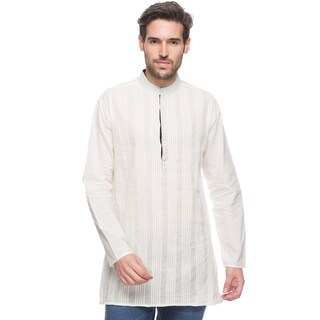 In-Sattva Shatranj Men's Indian Mid-length Kurta Tunic Banded Collar Solid Shirt With Pin-Tucks