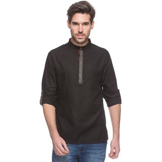 In-Sattva Shatranj Men's Indian Short Kurta Tunic Banded Collar Contrast Placket Solid Shirt