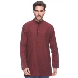 Handmade In-Sattva Shatranj Men's Crimson Indian Kurta Tunic with Banded Collar and Diamond Pattern (India)